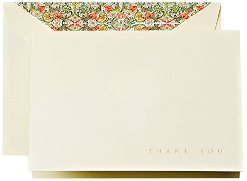 Crane & Co. Engraved Red Florentine Thank You Note (CT1509) (Italian Thank You Cards)