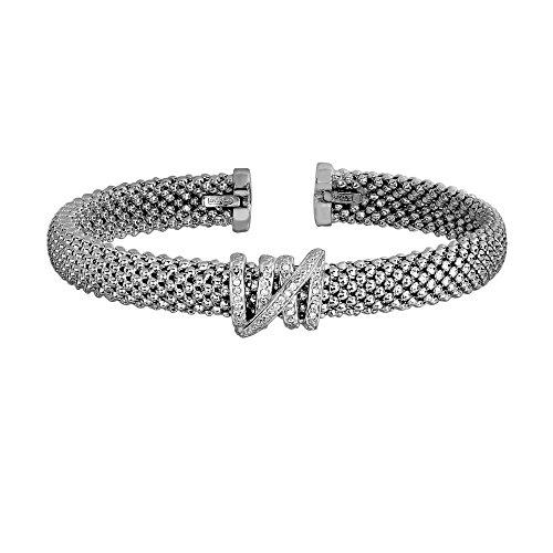 Sterling Silver Rhodium 8mm Popcorn Do Medal Cuff Bangle Bracelet Coil Center 0.13ct. Diamond