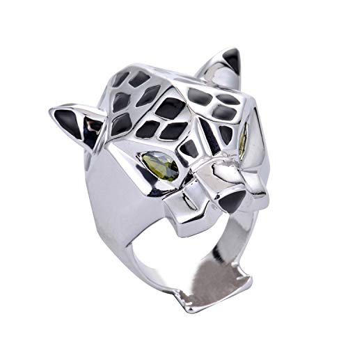 (Designer Inspired Leopard Statement Ring with Black Enamel and Austrian Crystals Unisex (Silver (White Gold Plated),)