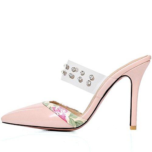 AicciAizzi Talons Sandales Pink Mules Ferme Bout Femmes SqSxrHXw