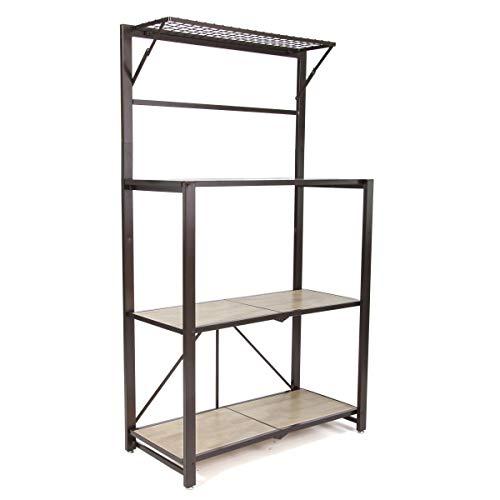 (Origami Heavy Duty Durable Organizational Baker's Rack with Wood Shelf, Brown)