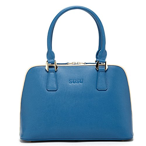 SUSU Blue Leather Satchel Bags For Women Top Handle Dome Shape Designer Handbags with Long Shoulder Strap Classic Elegant Purse For Work Zipper Closure Medium Big Size Stylish Bag For - Philip Lim