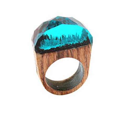AIMTOPPY 1pc 18mm Handmade Wood Resin Ring with Magnificent Tiny Fantasy Secret Landscape (free, blue)
