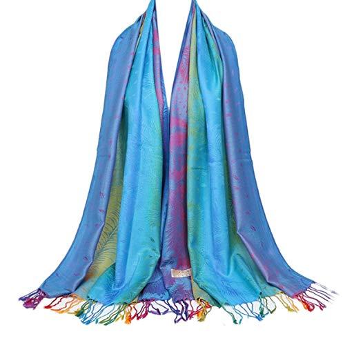 - IvyFlair Vintage Rainbow Peacock Feather Print Cotton Pashmina Scarf Shawl Wrap