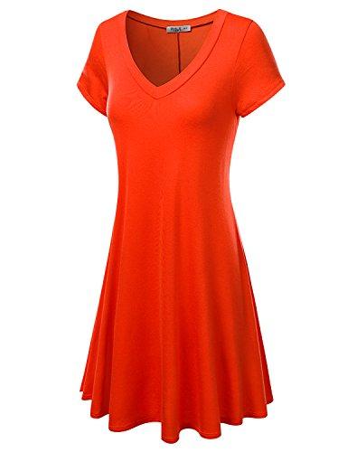 J.TOMSON Women's Short Sleeve V-neck Flared Dress ORANGE XL