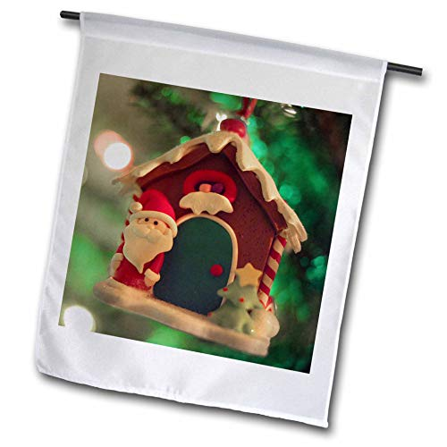 3dRose Stamp City - Holiday - Photograph of a Snow Covered Gingerbread House Ornament with Santa. - 18 x 27 inch Garden Flag ()