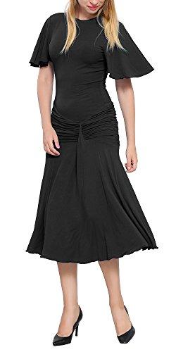 1920 Dresses To (Marycrafts Womens Drop Waist Midi Dress Flapper Vintage Retro 1920s 14 Black)