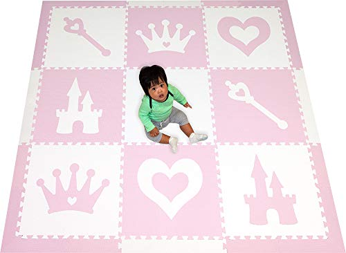(SoftTiles Princess Theme Foam Play Mat | Princess Decor | Nontoxic Interlocking Floor Tiles for Girls' Playrooms & Baby Nursery | Light Pink and White- 6.5 x 6.5 ft.- SCPRIWC)
