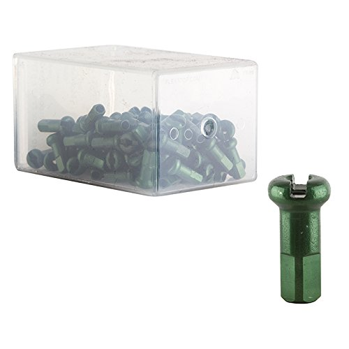 DT Swiss 14G Alloy Nipple Spoke (Box of 100), Green, 2mm