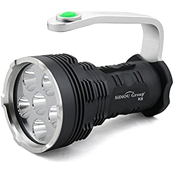 Fordex Group® NEW LED Flashlight Torch High-power Super Bright 8000 Lumens 6x Cree Xm-l T6 LED Flashlight Searchlight with 4x 3.7V 3000MAH 18650 Rechargeable Batteries with 18650 Batteries Charger lovely