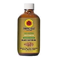 Tropic Isle Living Jamaica aceite de ricino negro, 8 fl. oz.- Botella de vidrio