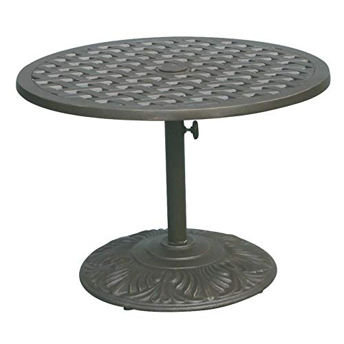 Astoria Grand 4-Seater Solid Cast Aluminum Antique Bronze Round Tea Table with Round Pedestal + Free Basic Design Concepts Expert Guide