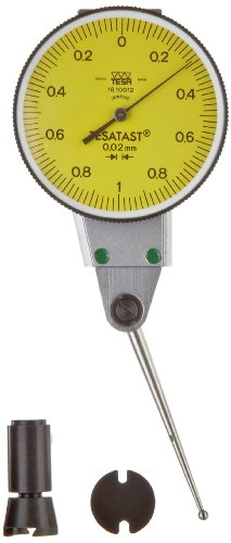 Brown & Sharpe TESA 18.10012 Tesatast Dial Test Indicator, Side Mounted, Extra Long Contact Point, M1.7x4 Thread, 2mm Stem Dia., Yellow Dial, 0-1.0-0 Reading, 38mm Dial Dia., 0-2mm Range, 0.02mm Graduation, +/-0.01mm Accuracy
