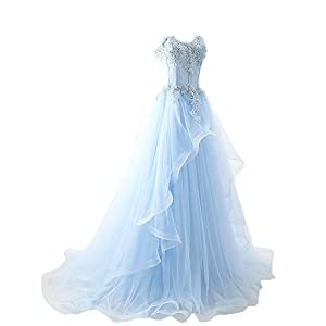 Maricopyjam Women's Applique Sweetheart Sheer Waist Fishbone Symmetrical Peplum Long Prom Dress