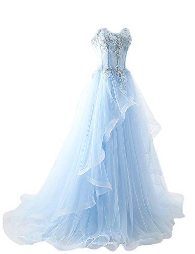 Maricopyjam Women's Applique Sweetheart Sheer Waist Fishbone Symmetrical Peplum Long Prom Dress Light Blue US2 - Bone Applique