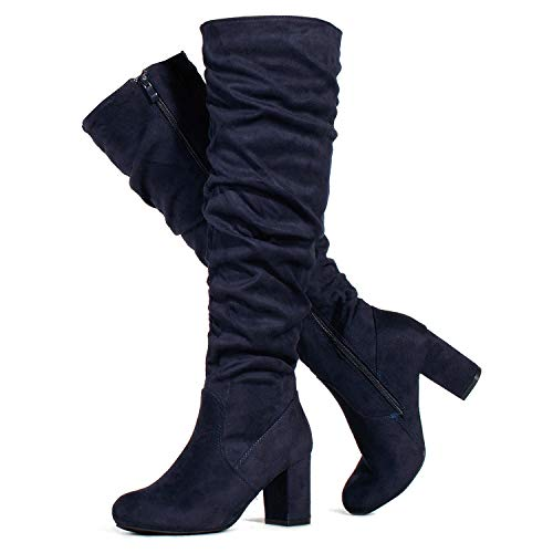 RF ROOM OF FASHION Women's Medium Calf Chunky Heel Slouchy Knee High Dress Boots Navy SU (8.5)