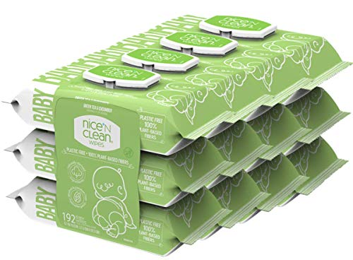 Nice 'N Clean Scented Baby Wipes, Suitable for Sensitive Skin on Hands, Face, Bottom, Made w/Plant-Based Fibers, Green…