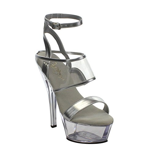 Clr Slv 260 EU 39 UK 6 Clr Pvc Size Pu Pleaser KISS Metallic 1q4n00AC