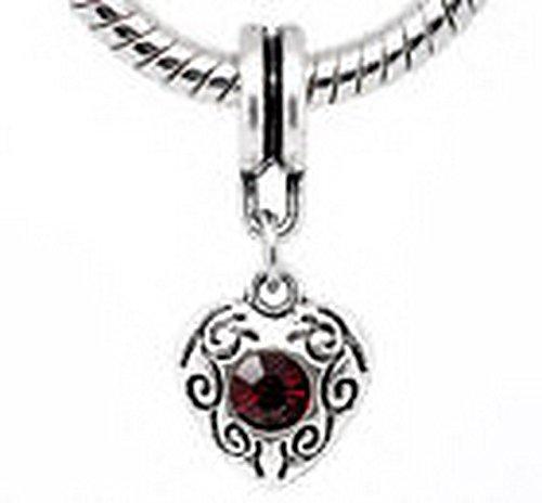 Glamorise Beads #14486 January Birthstone Garnet Red Rhinestone Heart Dangle Bead for Charm Bracelets
