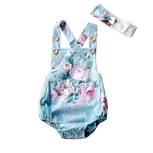 - HOOLCHEAN Baby Girls 2pcs Sets Cotton Bodysuits Buttons to Adjust Suspender Romper and Headbanad (Blue Flower, M:12 Months)