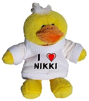 Pollo de peluche (llavero) con Amo Nikki en la camiseta (nombre de pila