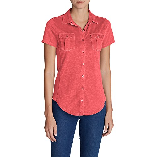 Womens Short Sleeve Button Front (Eddie Bauer Women's Ravenna Short-Sleeve Button-Front Shirt, Berry L)