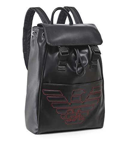 Men's amp; Black Debossed Maxi amp; Red Red Black Armani Backpack Logo dX6xq4dzw