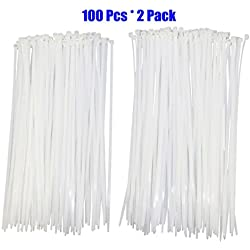 100pcs 2pack ( Total 200 Pcs) Extra Heavy Duty 12 inch Standard White Cable Ties Industrial Strength Durable Outdoor Use Zip Ties Garden Outdoor Industrial Use