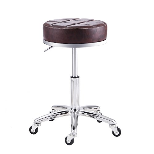 Rfiver Adjustable Rolling Swivel Salon Spa Medical Massage Stool Chair Drafting Stools in Brown SC1004-2