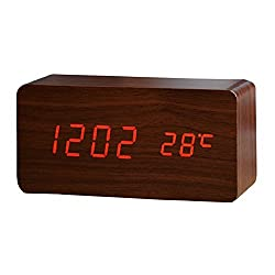 Alarm Clock With USB Charger,Smart Battery Backup Time Clock Digital USB Port Charging Station,Wood Grain Clocks with Red Led Nightlight,Atomic Clock Loud Alarm,Temperature Display,Best For Bedrooms