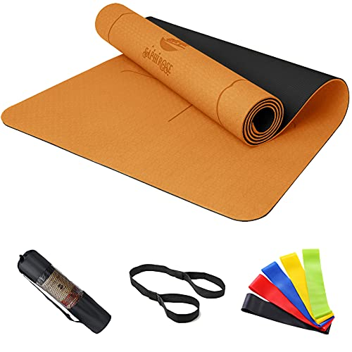 Non Slip Yoga Mat with Alignment Lines TPE Home Fitness Eco Friendly Exercise & Workout Mat with Carrying Strap Types of…