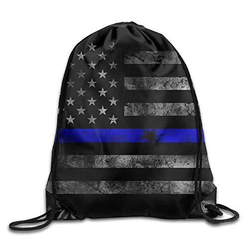 Bnialaed Thin Blue Line Flag Gym Drawstring Bags Backpack Lightweight Drawstring Gym Yoga Runner Bags For Men Women ()