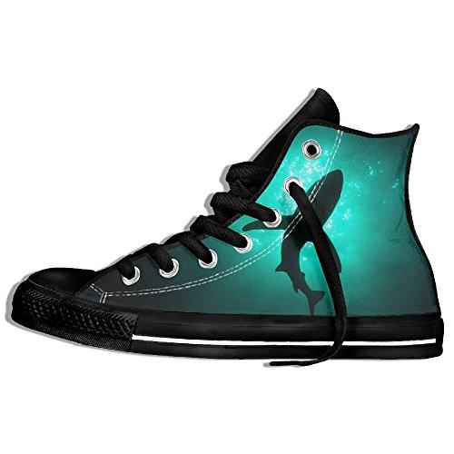 Classiche Sneakers Alte Scarpe Di Tela Anti-skid Squalo Casual Da Passeggio Per Uomo Donna Nero