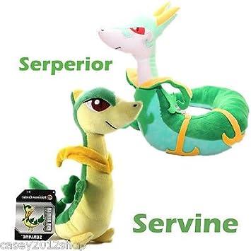 "Pokemon Center raro 8 ""Serperior & 11"" Servine de peluche muñeca juguete Navidad"
