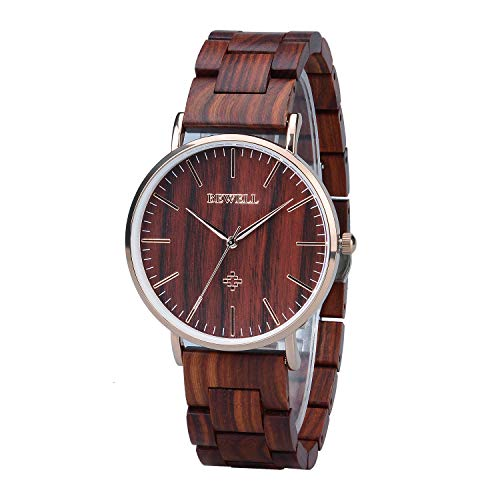 Bewell Minimalist Casual Red Sandalwood Couple Dress Watches Wood Grain Dial Men Type