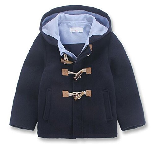 Wool Hooded Blend Toggle (Little Boys' Classic Wool Blend Hooded Duffle Coat Toggle Coat (5-6Years, Nave Blue))