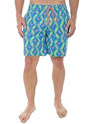 Men's Flamingo Beach Shorts - Bright Neon Short Shorts: Small