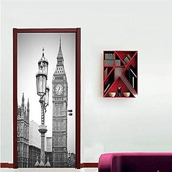 Etiqueta De La Puerta Dormitorio En Casa Puerta Corredera Papel Pintado Decorativo Pvc Pegatinas De Pared A Prueba De Agua: Amazon.es: Bricolaje y herramientas