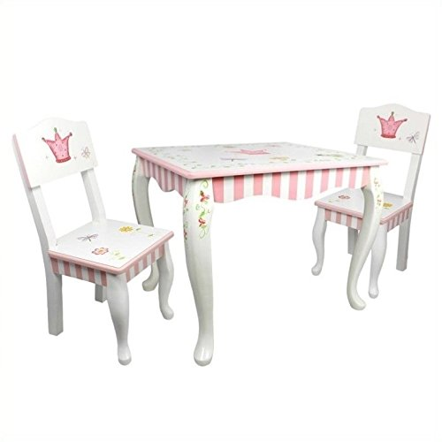 Teamson Design Corp Princess & Frog 4 Piece Girls Pink Play Kitchen Set with Table and Chairs