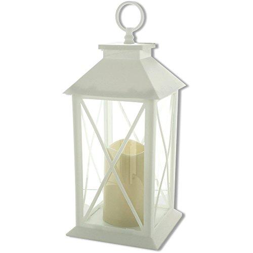 Kole Imports Decorative White LED Lantern with Pillar Candle from Kole Imports