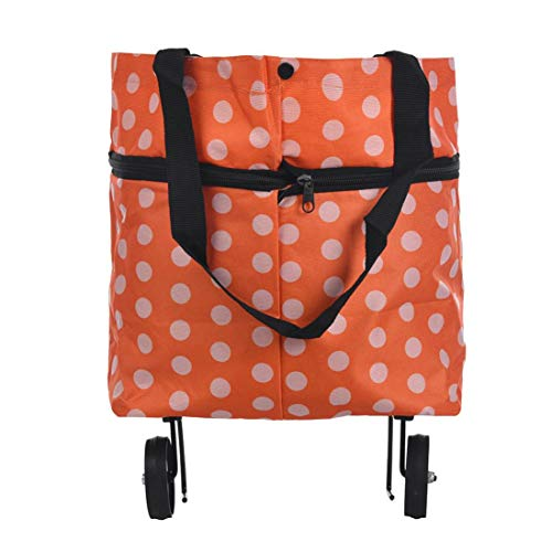 Weiyun Folding Shopping Cart with Wheels for Groceries Transit Utility Cart Multifunctional Moving Box Shoulder Bags Rolling Cart Transport up to 120 pounds-Oxford Cloth-Orange Dots