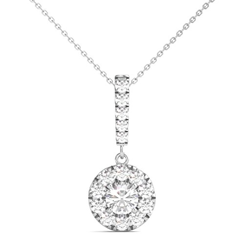 Diamond Pendant Multi Circle - Diamond Studs Forever 14K White Gold Diamond Halo Stick Pendant (3/4 Ct tw, IGI USA Certified GH/I1)