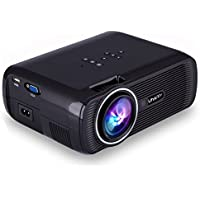 ESoku Full HD Projector 1080P LED Mini Projector Portable Home Theater Video Projector Compatible with TV Stick, HDMI, VGA, USB, AV, SD (Black)