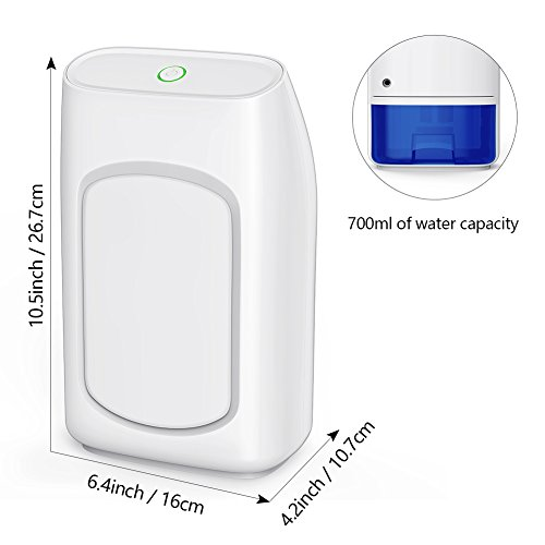 Afloia Electric Home Dehumidifier, Portable Dehumidifier 700ml (24fl.oz) Capacity up to (215 sq ft) Deshumidificador, Quiet Room Small Dehumidifiers for Home Dorm Room Baby Room RV Crawl Space by Afloia (Image #5)