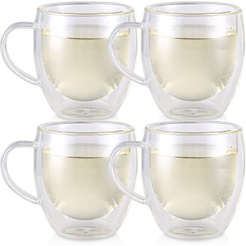 Teabloom Double Walled Cups – Set of 4 Insulated Glass Cups for Tea, Coffee, Espresso, and More - 8 oz / 250 ml