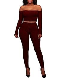 Women's Knitted Off Shoulder Crop Top Long Pants Set 2 Pieces Jumpsuits