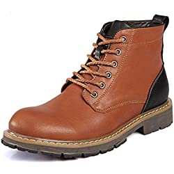YINHAN Men's Outdoor Warm Ankle Boots Lace UP Leather Boots