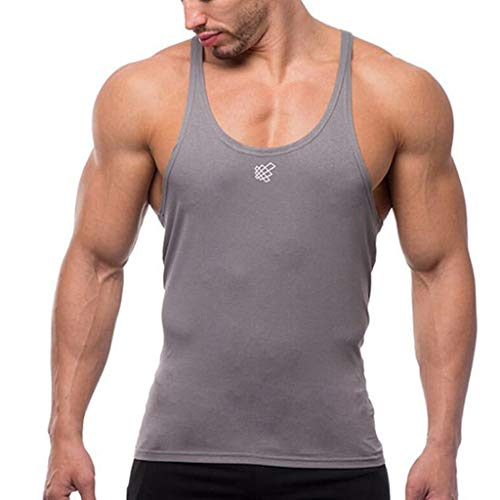 Slim fit Tank top for Men Sleeveless Bodybuilding Sport Muscle Fitness Workout Dry Fit Shirt Tank Top Gray