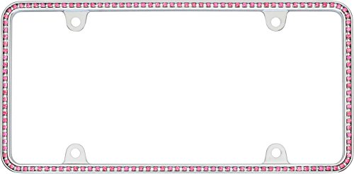 Cruiser Accessories 18136 Chrome/Pink Diamondesque License Plate Frame