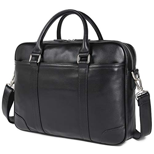 Texbo Men's Solid Large Full Grain Cowhide Leather Vintage 15.6'&17.3' Laptop Briefcase for Business Travel